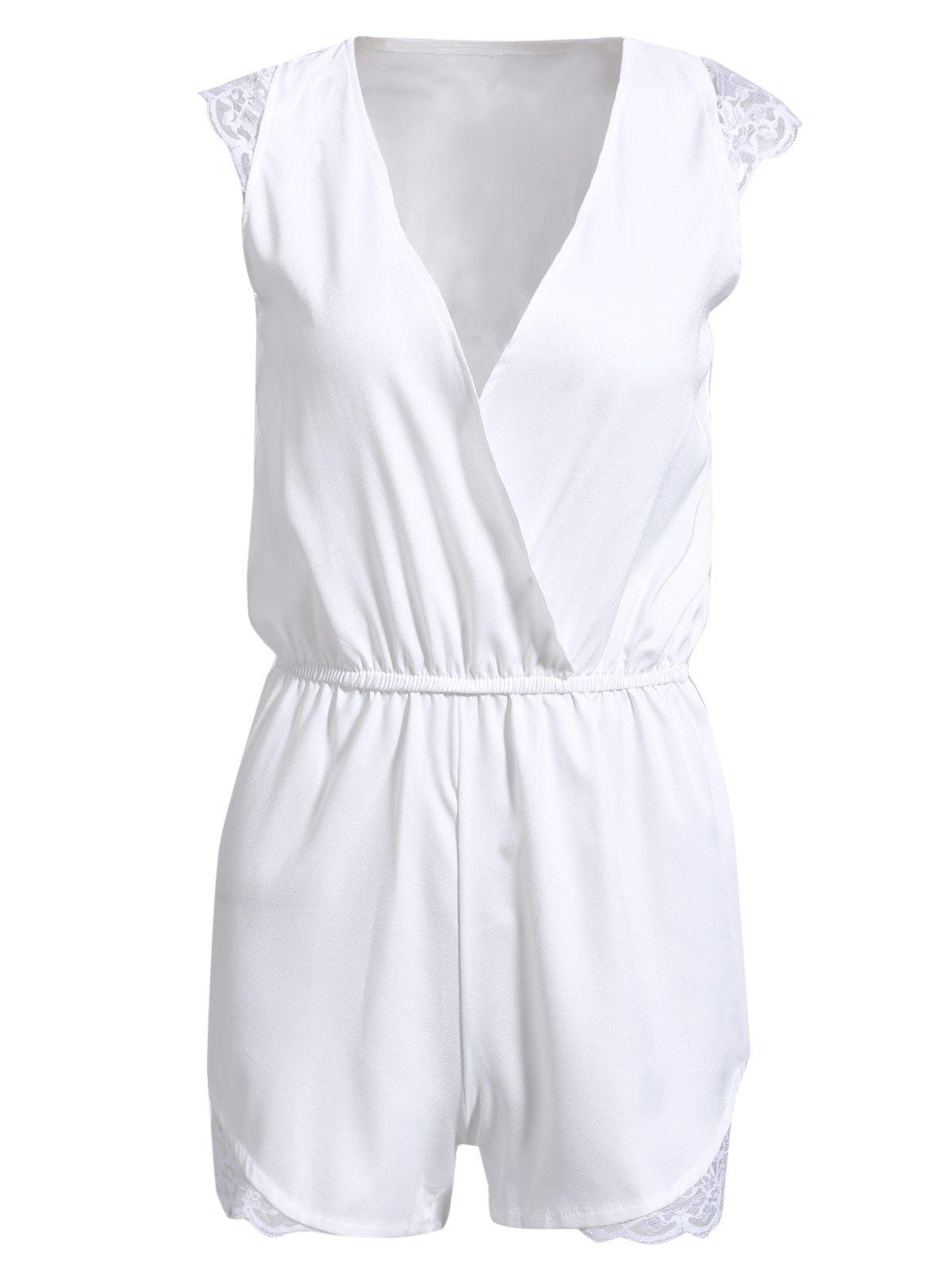 Trendy Plunging Neck Sleeveless Lace Spliced Solid Color Romper For Women - WHITE M