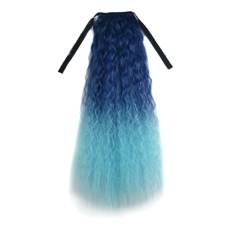 Vogue Blue Ombre Long Capless Fluffy Corn Hot Curly Synthetic Women's Ponytail - OMBRE