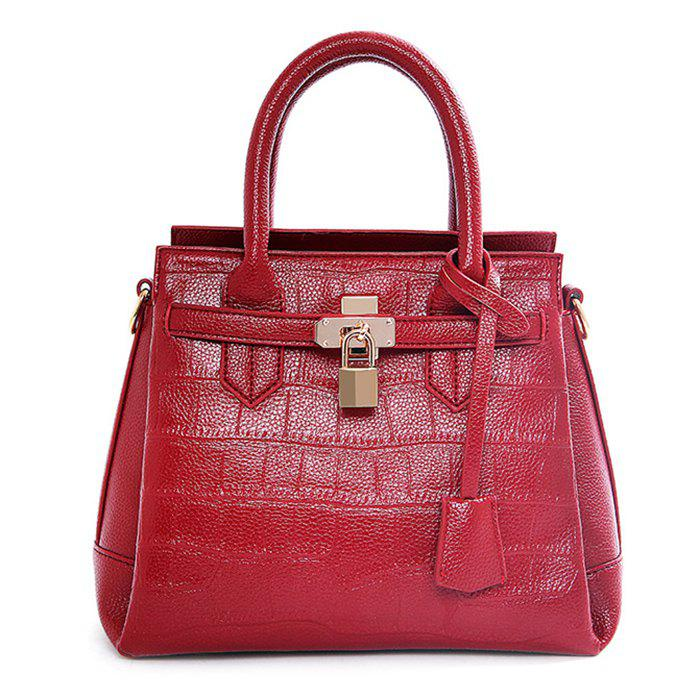 Stylish Lock and Crocodile Print Design Women's Tote Bag - WINE RED