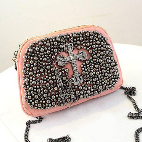Trendy Chains and Metal Cross Design Women's Crossbody Bag - LIGHT PINK