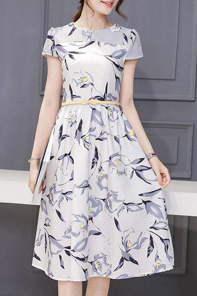 Lady Like Short Sleeve Round Neck Floral Print Spliced Women's Dress - WHITE GREY M