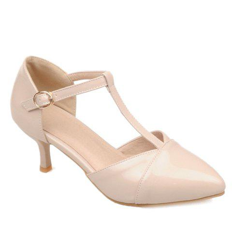 Stylish Pointed Toe and T-Strap Design Women's Pumps - APRICOT 34