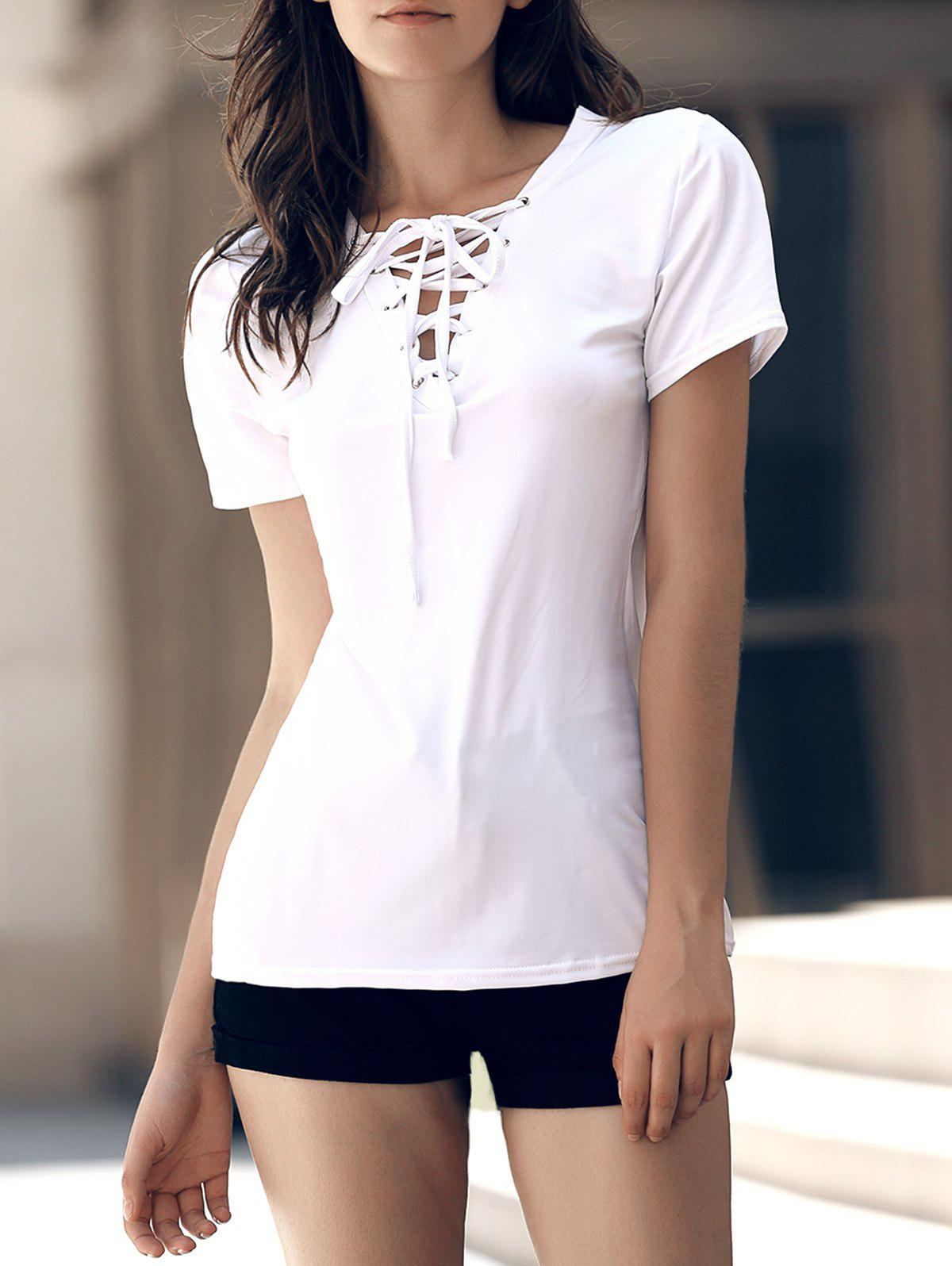 Stylish Women's V-Neck Short Sleeves Lace-Up T-Shirt - WHITE S