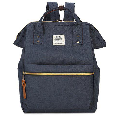 Stylish Zippers and Canvas Design Women's Backpack -  DEEP BLUE