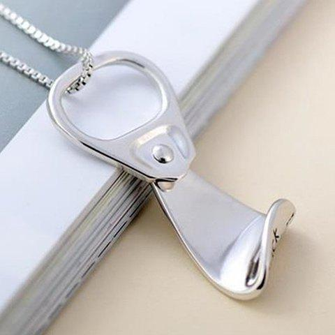 Can Tab Shape Pendant Necklace - SILVER