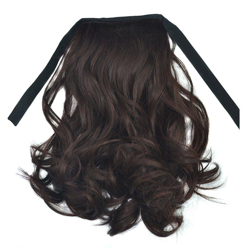 Fluffy Curly Synthetic Fashion Short Capless Ponytail For Women - RED MIXED BLACK