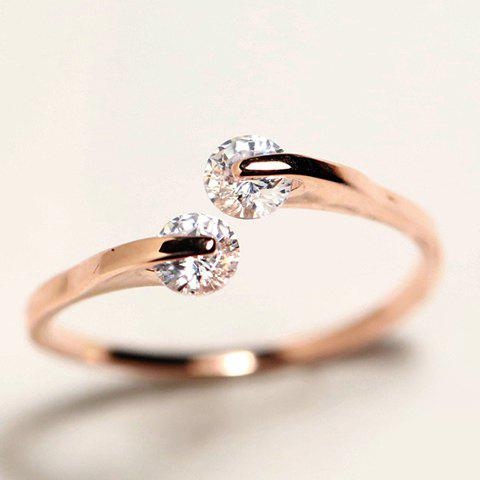 Faux Crystal Cuff Ring - ROSE GOLD ONE-SIZE