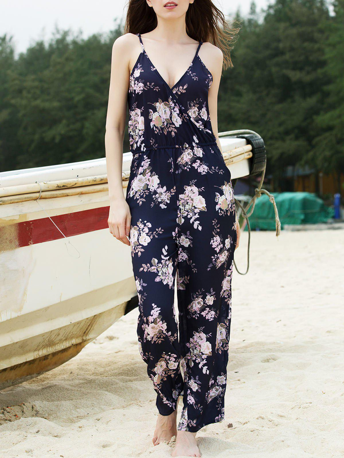 Trendy Plunging Neck Spaghetti Strap Flower Print Jumpsuit For Women