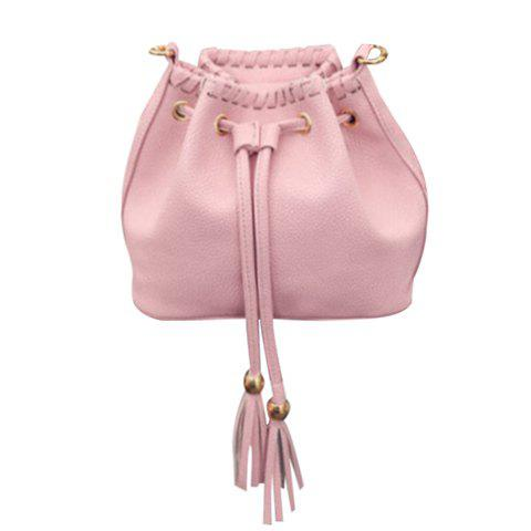 Stylish Tassel and Solid Color Design Women's Tote Bag - PINK