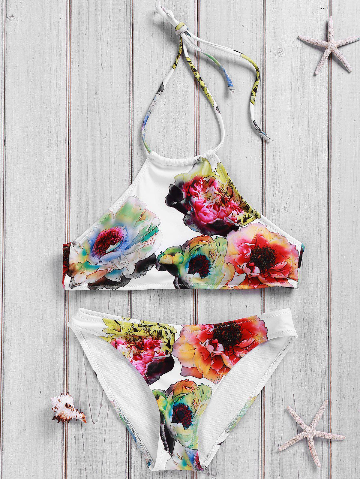 Chic Backless Halter Floral Print Bikini Suit For Women - WHITE S