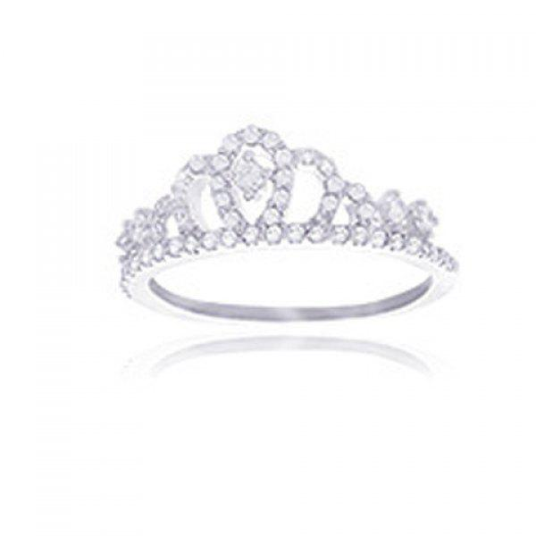 Delicate Rhinestoned Crown Ring For Women