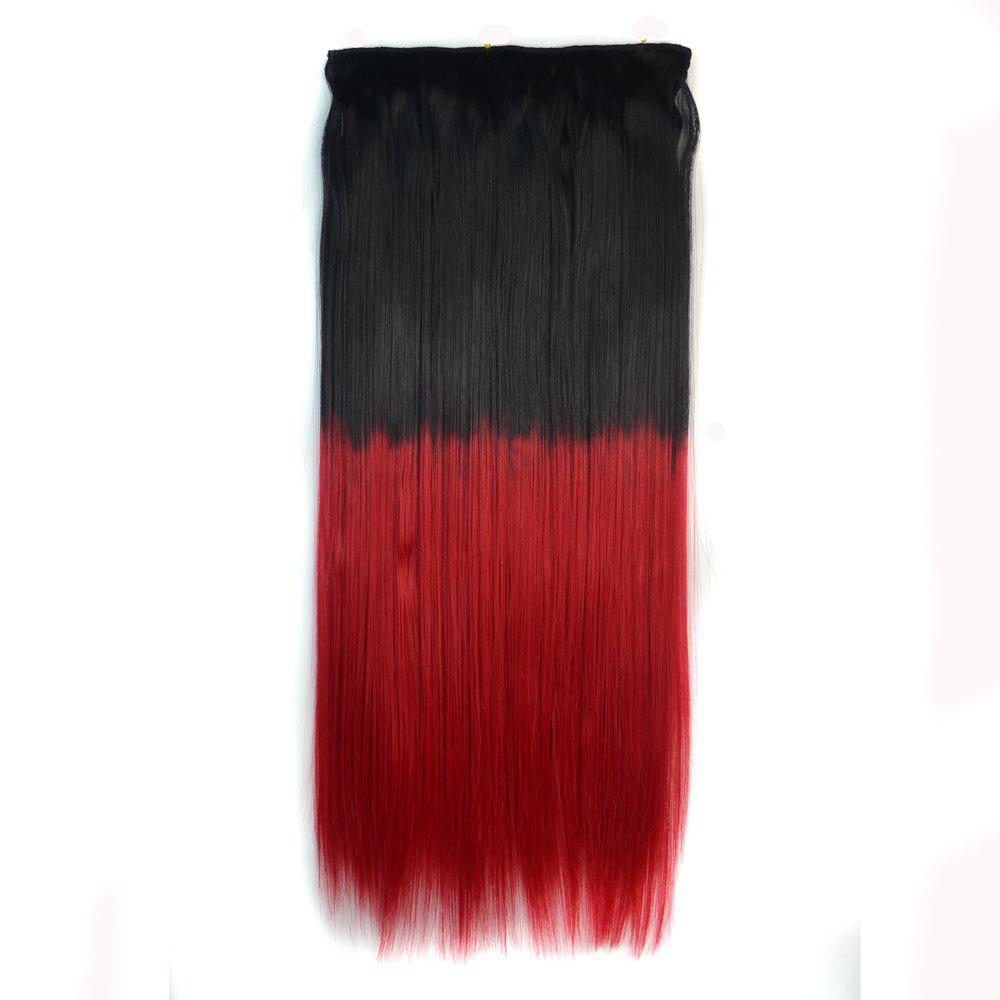 Fashion Clip In Capless Silky Straight Ombre Color Hair Extension For Women - Noir Rouge Ombre BTRED