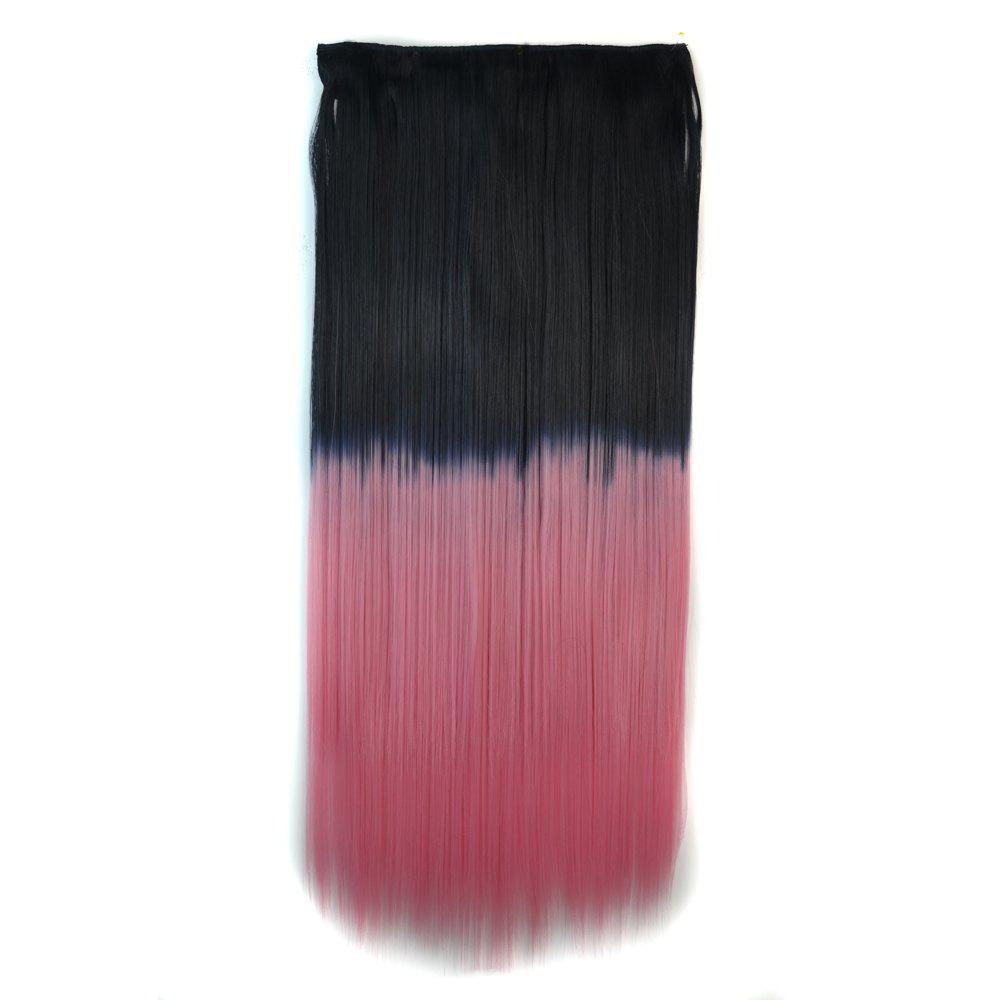 Fashion Clip In Capless Silky Straight Ombre Color Hair Extension For Women - Noir Rose Ombre BT
