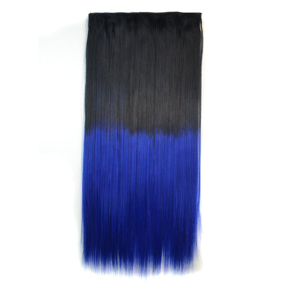 Fashion Clip In Capless Silky Straight Ombre Color Hair Extension For Women - BLACK BLUE OMBRE BTBLUE2