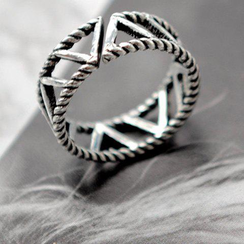 Hollow Out Letter Opening Ring - SILVER