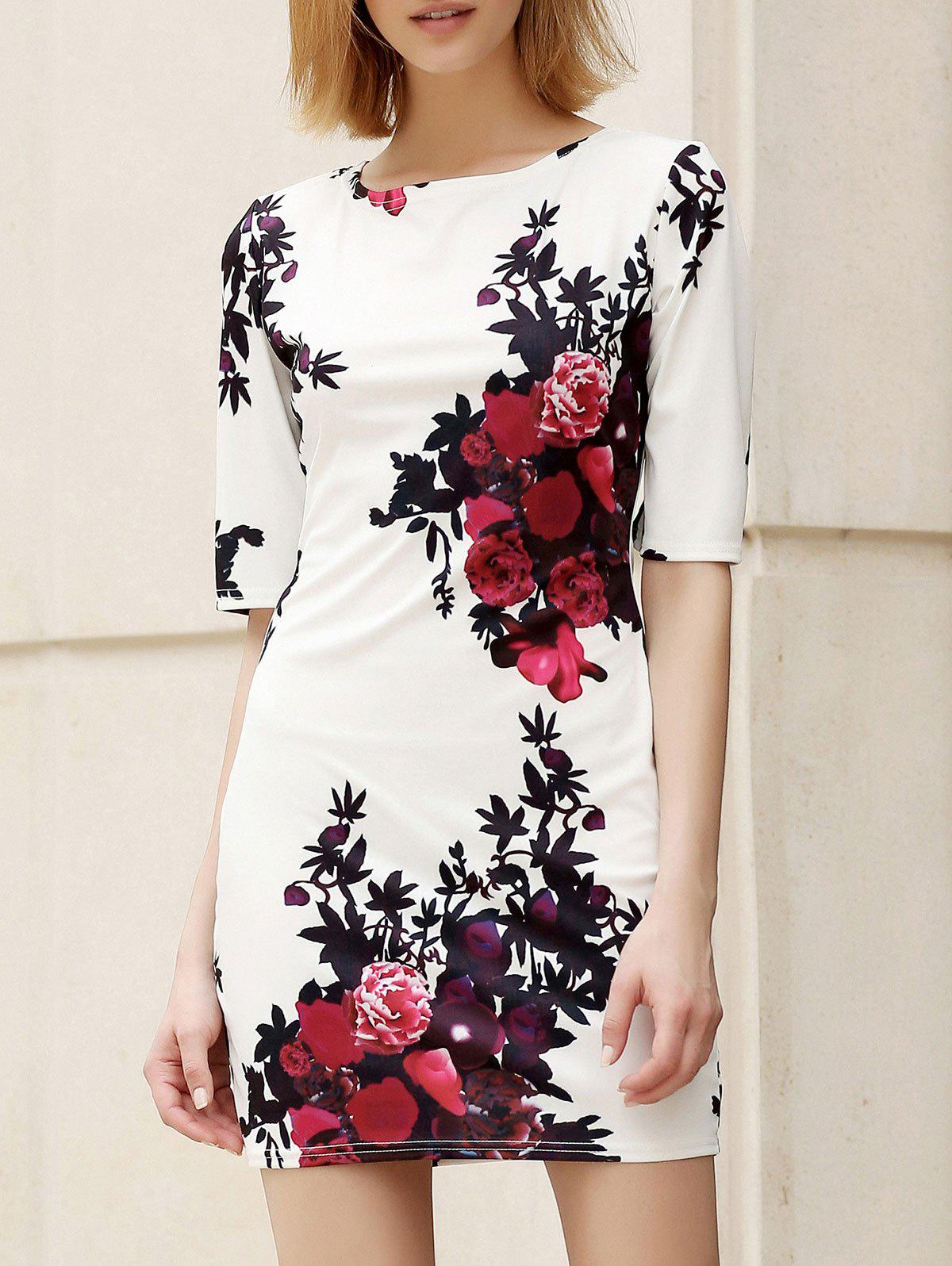 Trendy Round Collar Skinny Floral Print Women's Dress - WHITE S