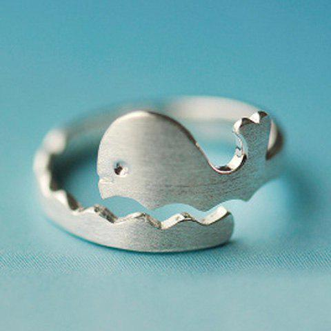 Dolphin Wave Silver Plated Opening Ring - SILVER