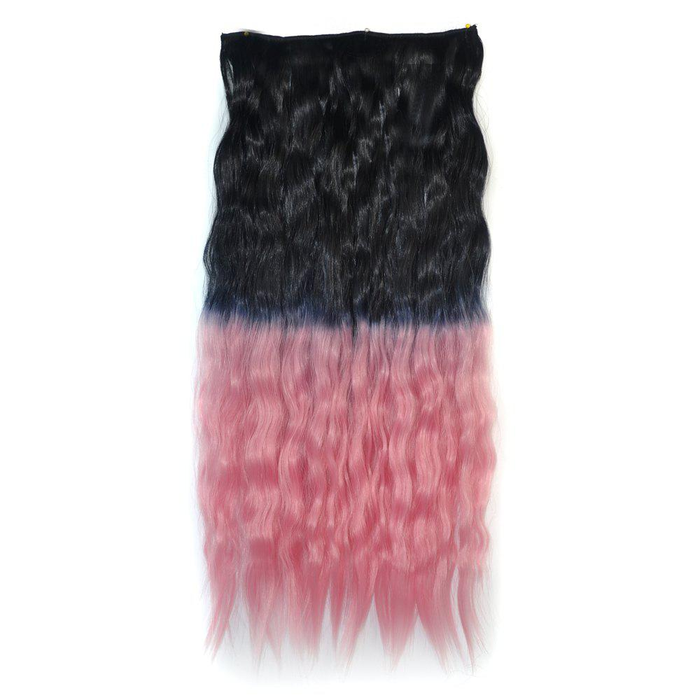 Vogue Ombre Color Long Fluffy Corn Hot Curly Capless Synthetic Hair Extension For WomenHair<br><br><br>Color: BLACK PINK OMBRE 1BT2311#
