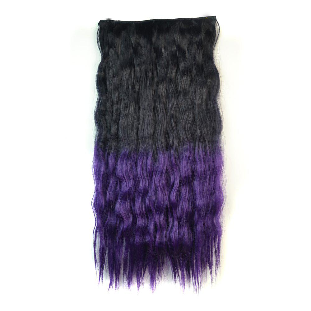Vogue Ombre Color Long Fluffy Corn Hot Curly Capless Synthetic Hair Extension For Women - BLACK/PURPLE