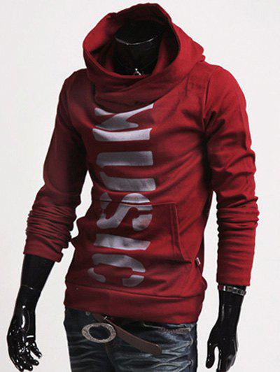 Classic Letters Pattern Front Pocket Fitted Hooded Long Sleeves Men's Hoodie - WINE RED M