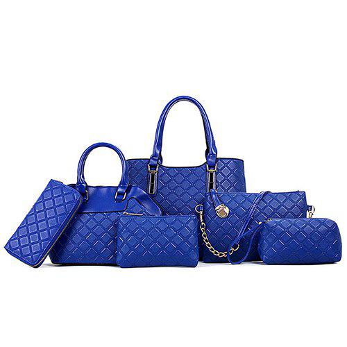 Graceful Checked and Solid Color Design Women's Tote Bag - BLUE