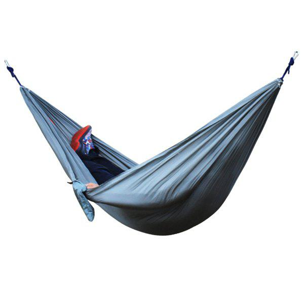 High Quality Portable jardin en plein air Camping Parachute Fabric Solid Color Hammock - Gris
