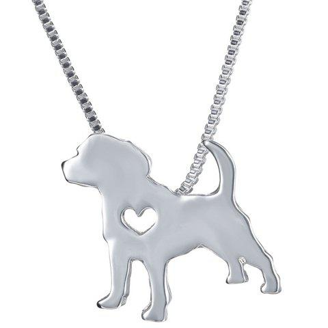 Hollowed Heart Dog Pendant Necklace - SILVER
