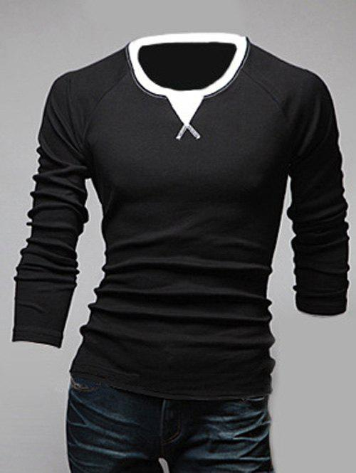 Classic Color Block Triangle Pattern Slimming Round Neck Long Sleeves Men's Linen Blended T-Shirt - BLACK M
