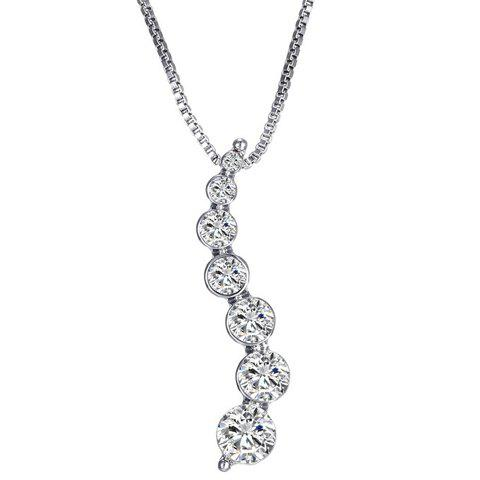 Rhinestone Curve Shape Necklace - SILVER