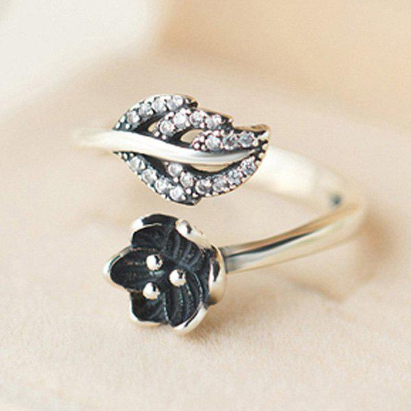 Delicate Rhinestone Floral Leaf Opening Ring For Women - SILVER