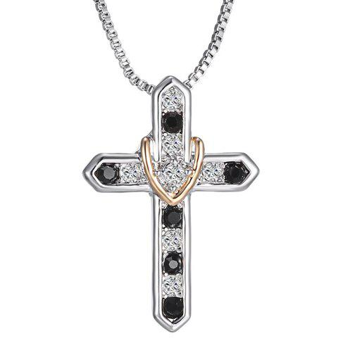 Delicate Rhinestone Cross Necklace Jewelry For Men - WHITE