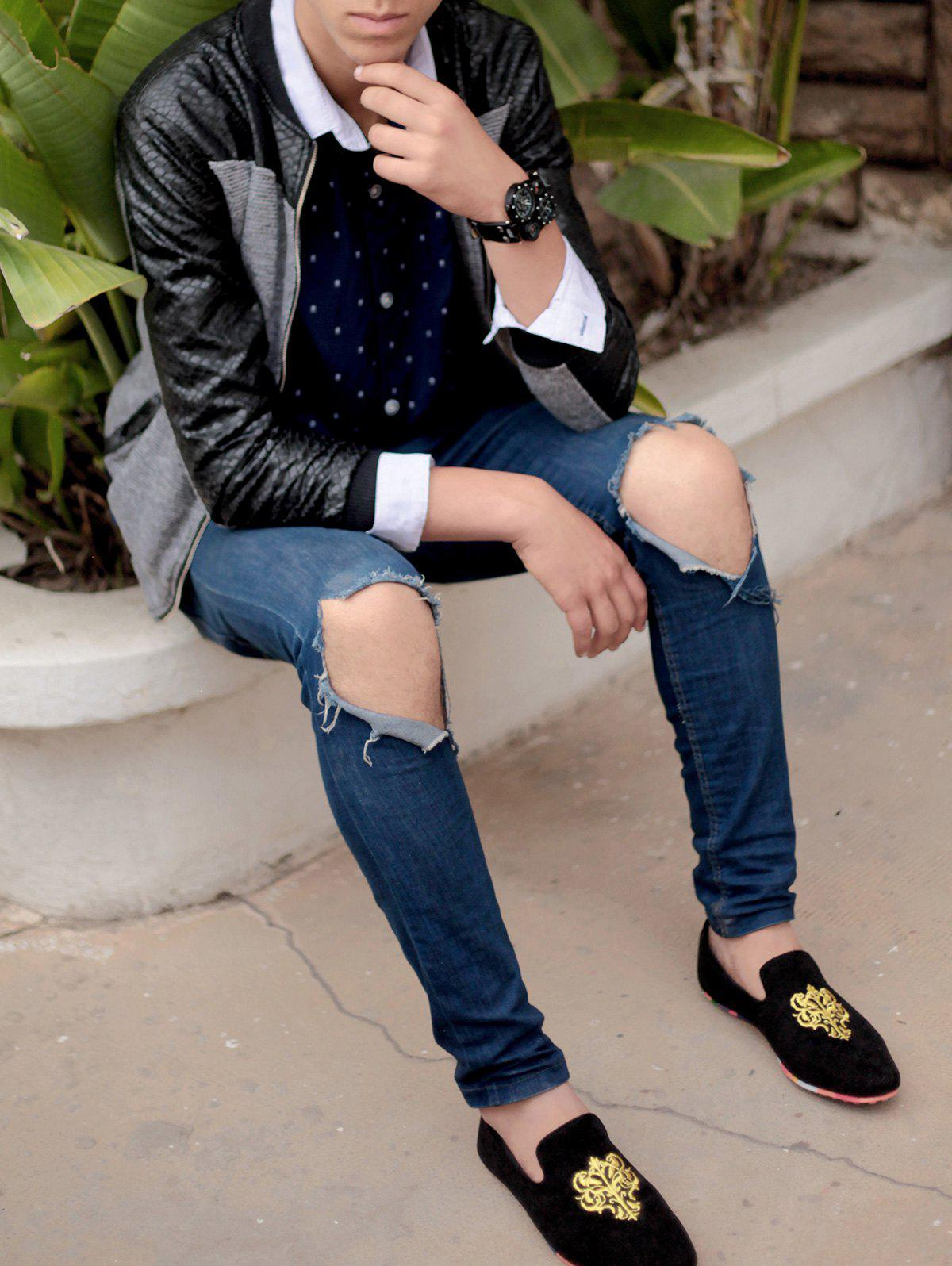 Fashionable Suede and Floral Print Design Loafers For Men - BLACK 41