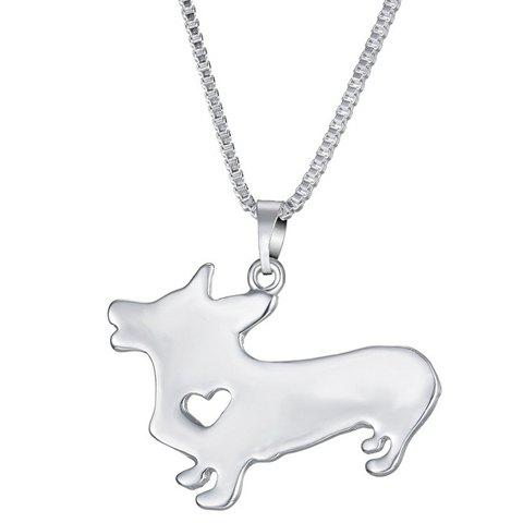 Chic Dog Heart Pendant Necklace For Women - SILVER