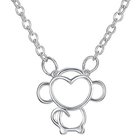 Hollow Out Monkey Pendant Necklace - SILVER