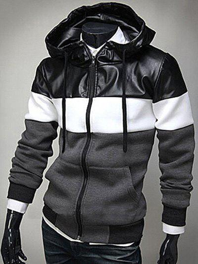 PU Leather Spliced Color Block Hooded Long Sleeves Men's Hoodie - DEEP GRAY XL