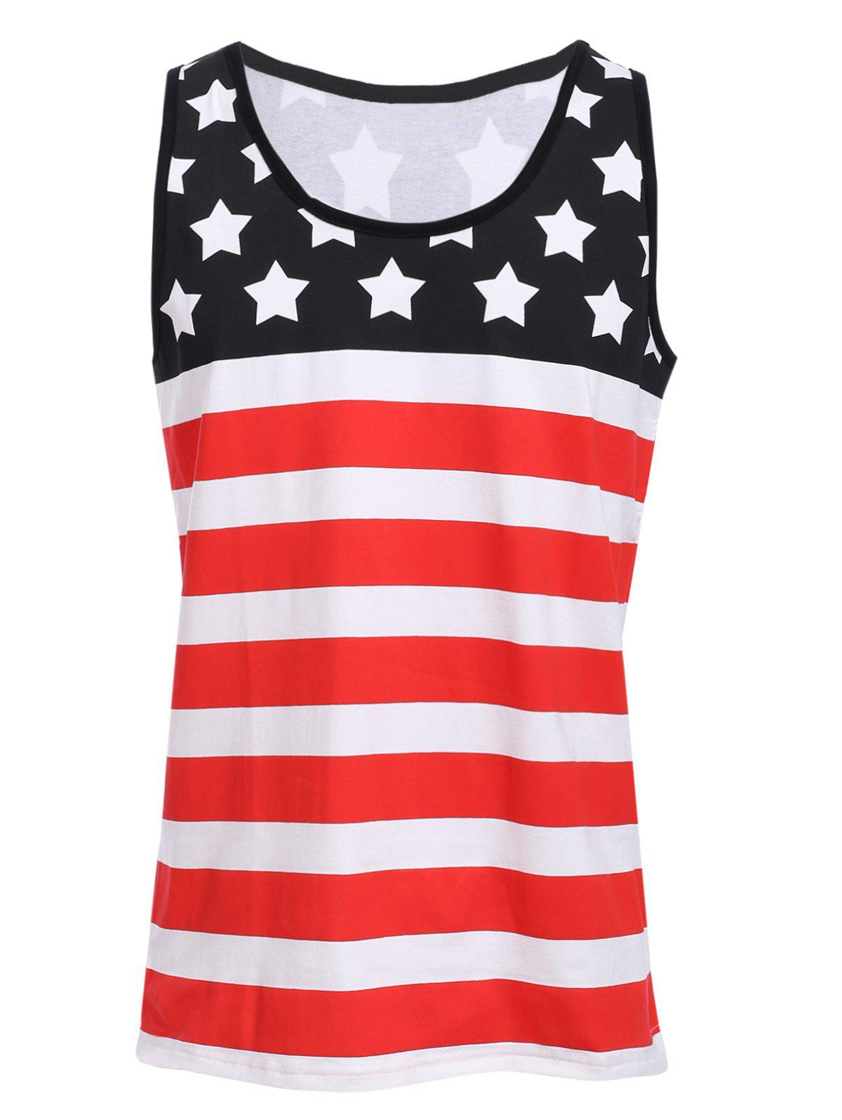 Sports Round Neck Stripes Star Print Men's Color Block Tank Top dia 400mm 900w 120v 3m ntc 100k round tank silicone heater huge 3d printer build plate heated bed electric heating plate element