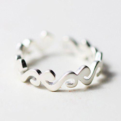 Delicate Frosted Sea Wave Opening Ring For Women