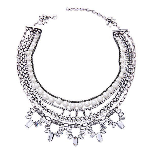 Chic Multilayered Faux Pearl Alloy Necklace For Women