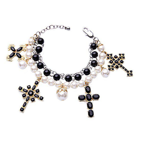 Chic Multilayered Faux Pearl Cross Bracelet For Women
