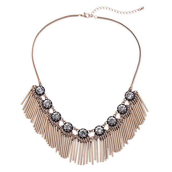 Chic Alloy Rhinestone Bar Necklace For Women