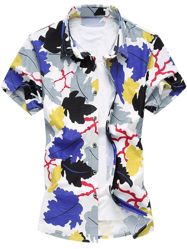 Fashionable Turn-Down Collar Colored Leaves Printing Short Sleeve Men's Plus Size Shirt