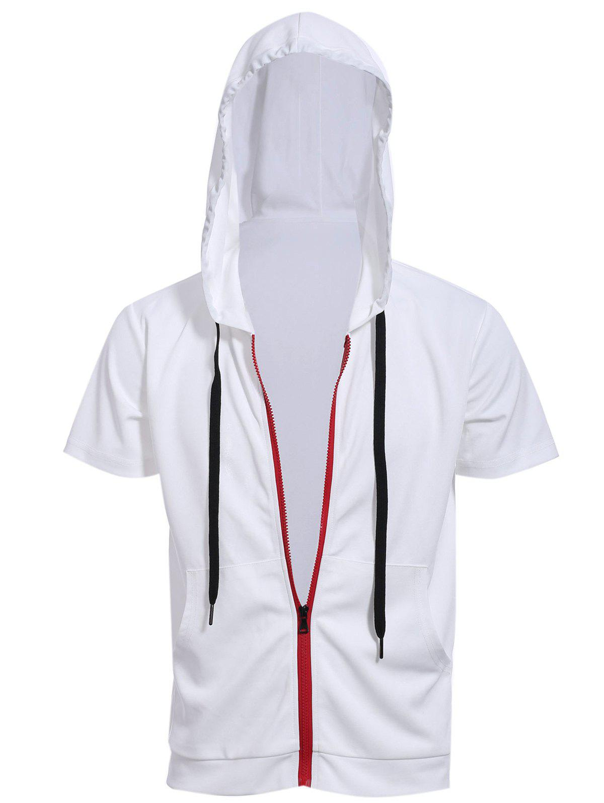 Red Zipper Fly Front Pocket Hooded Short Sleeves Men's White Hoodie - WHITE L