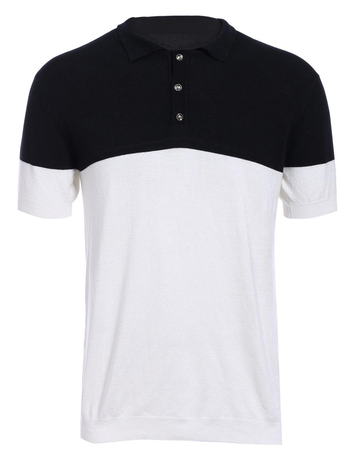 Fashion Turn-down Collar Color Block Short Sleeves Men's Knit Polo T-Shirt - WHITE/BLACK XL