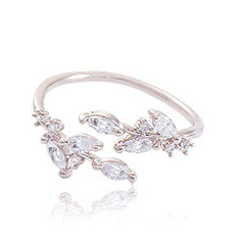 Artificial Zircon Leaf Opening Ring - SILVER