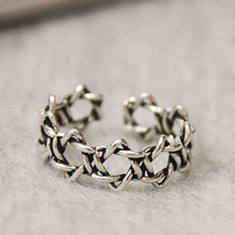 Alloy Hexagram Hollow Out Opening Ring - SILVER GRAY