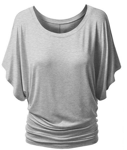 Trendy Bat Sleeve Jewel Neck Pure Color T-Shirt For Women - LIGHT GRAY XL