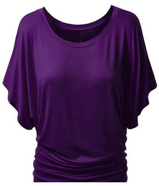 Trendy Bat Sleeve Jewel Neck Pure Color T-Shirt For Women - PURPLE XL