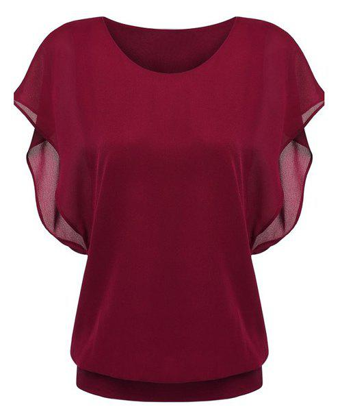 Trendy Bat Sleeve Round Neck Pure Color Chiffon Spliced T-Shirt For Women - WINE RED S