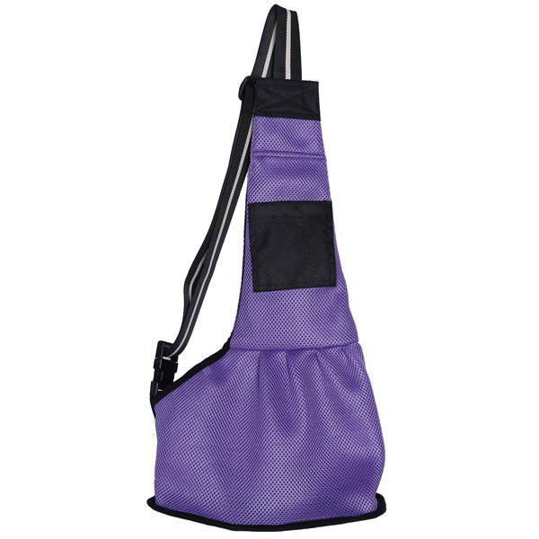 High Quality Solid Color Mesh Fabric Pet Dog Crossbody BagHome<br><br><br>Size: S<br>Color: PURPLE