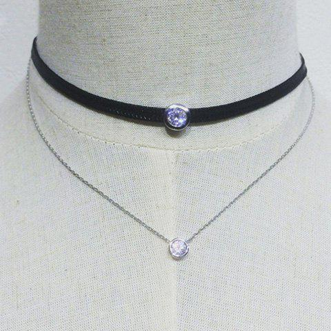 Delicate Double Layers Rhinestone Chain Choker Necklace For Women